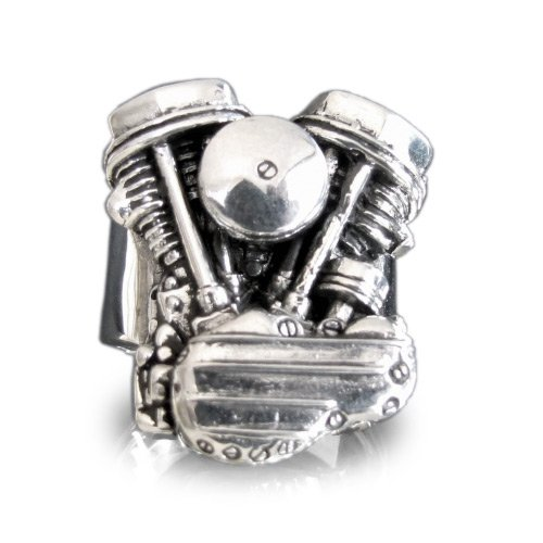 Silver HARLEY DAVIDSON RING Panhead Engine Biker Ring Twin Head Mc - Size 24.25