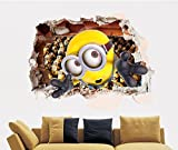 Large 3d Minion Smash Wall Despicable Me 2 Wall Sticker Kids Children Bedroom Art Decor Mural
