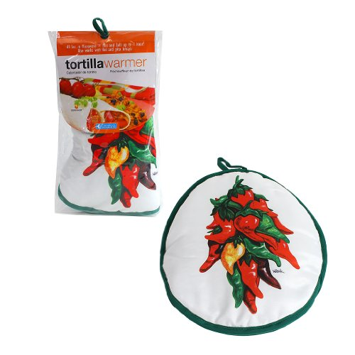 """Tortilla Warmer 12"""" - Insulated Fabric Pouch By Camerons - Keeps Warm For One Hour After Just 45 Microwave Seconds (Ristra)"""