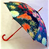 """Chrysanthemums"" by Monet Full Size Stick Art Umbrella with Automatic Push Button Opening, Great Gift Idea ~ Fine Art Umbrellas"