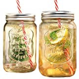 Set of Two (2) Clear Glass Mason Jar Beverage Cups ~ 30-oz Drink Cup with Stainless Steel Lid, Straw Included