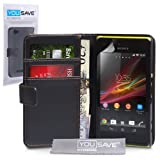 Yousave Accessories PU Leather Wallet Cover Case for Sony Xperia M - Black
