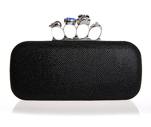 Minitoo Mm133 Womens Fashion Collection Handmade Vintage Black Satin Glitter Clutch Bags Evening Party Handbags