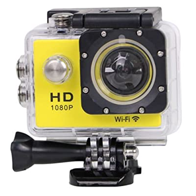 "YOCI 1080P Waterproof Sports Action Camera 1080P 14M Camcorder 30 meters Underwater Photographic Body Mounted Ourtdoor DV + NT96655 DSP 2.0"" LCD + 170° Wide Angle Lens + 2 Batteries (Yellow) by YOCI Technology"