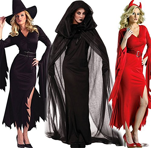Bluestar Witch Dress Vampire Devil Dress Bridal Wear Black Cloak Halloween Costumes