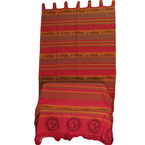 Indian Home Decor Bohemian Om Namah Shivay Sanskrit Cotton Throw And Curtain Set front-333350
