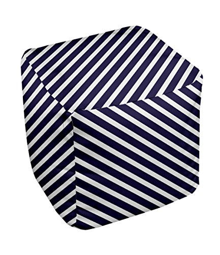 E by design Stripe Pouf, 13-Inch, 2Spring Navy