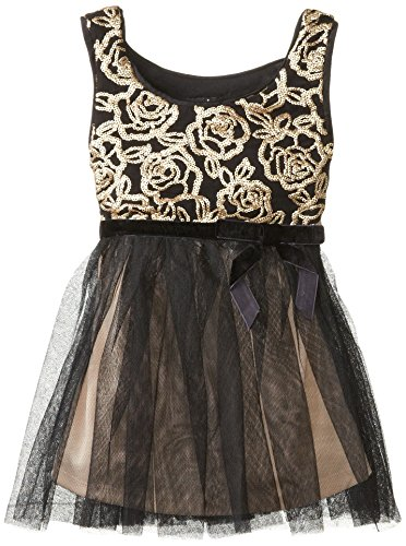 Zunie Little Girls' Embroidered Rose Dress, Black/Gold, 3T