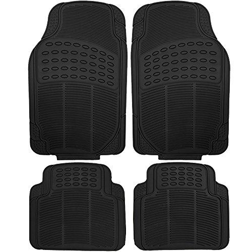 OxGord® 4pc Full Set Ridged Heavy Duty Rubber Floor Mats, Universal Fit Mat for Car, SUV, Van & Trucks - Front & Rear, Driver & Passenger Seat (Black)