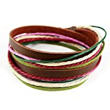 Real Spark Handmade Fashion Style Multilayer Wraps Colorful Cords Snap Clasp Brown Leather Wrap Bracelet