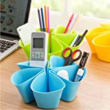 YIXIN Multifunctional Flora Design Desktop Storage Organizer for Home Office Desk Pen Cellphone Container Small Accessories (Blue)