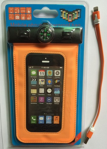 Unitewell New Waterproof Pouch Bag Case Cover With Compass Armband And Neck Strap For Iphone 5 5S 5C 4S 4G (Orange Kit)
