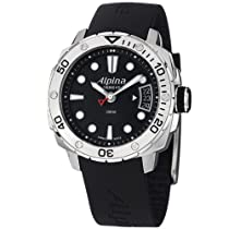 Alpina Adventure Diver Black Dial Black Rubber Strap Mens Watch AL240LB3V6