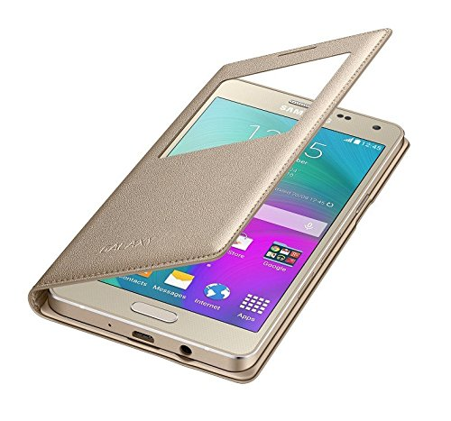 cheap for discount 047b7 93f1c Samsung J2 (2016) EDITION Golden Leather Window Flip cover