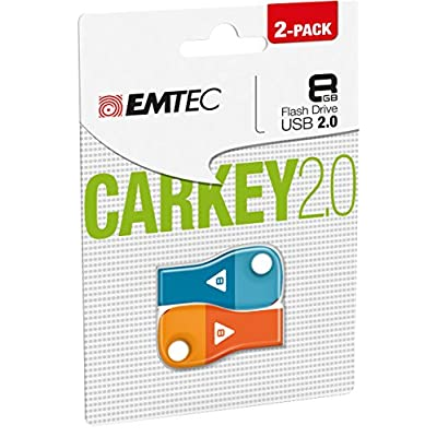 Emtec Flash Drive 8GB USB 2.0 Car Key, 2-Pack (ECMMD8GD302P2)