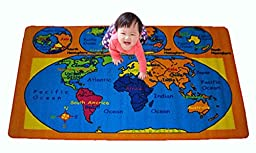 Kids Rug World Map Area Rug 5\' x 7\' Children Area Rug for Playroom & Nursery - Non Skid Gel Backing (59\