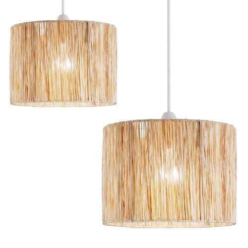 2 x raffia wicker drum shaped pendant lamp shades
