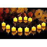 Lot de 12 bougies à piles, sans flammes, à LED ambre - décoration d'intérieur