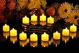 PK Green Set of 12 Amber LED Candles, Flameless TeaLights