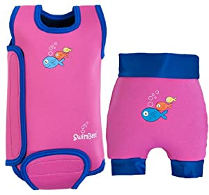 SwimBest Baby Wetsuit & Swim Nappy Set - Pink/Navy - 0-6 mths / 2-4 kgs (Birth - 3 months)