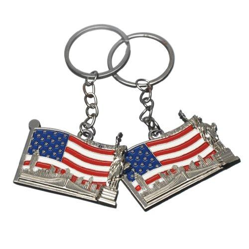 2x NY Brooklyn Bridge Statue of Liberty Skyline US Flag Metal Keychain-Set of 2