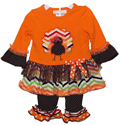 Bonnie Baby Baby-Girls Newborn Chevron Turkey Legging Set, Orange, 0-3 Months front-1030517