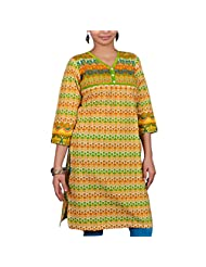 VGF 3/4 Sleeve Printed Cotton Kurti For Women