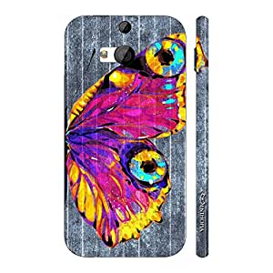 Enthopia Designer Hardshell Case Butterfly on a Grey Wall Back Cover for HTC One M8
