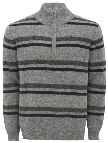 Mens Luxury Lambswool Pull Over Jumper Grey Marl L