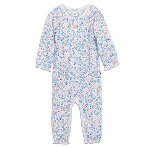 Feather Baby Little Girls Pima Cotton Long Sleeve Ruched Baby Romper