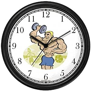 Caricature of Weight Lifter with Dumbbell on Muscle Beach 1 - Physical Fitness-Exercise-Body Building Wall Clock by WatchBuddy Timepieces (Hunter Green Frame)