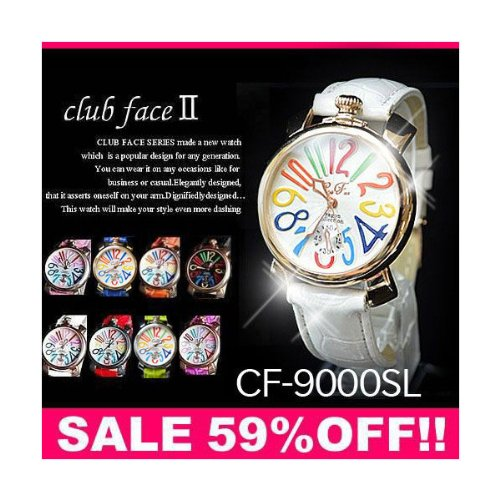 腕時計 レディース clubface クラブフェイス(ブルーベルト×ホワイトフェイス)GaGa MILANOガガミラノ風