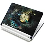 "Meffort Inc® 15 15.6 Inch Laptop Notebook Skin Sticker Cover Art Decal Fits Laptop Size of 13"" 13.3"" 14"" 15"" 15.6"" 16"" HP Dell Lenovo Asus Compaq Asus Acer Computers (Free Wrist Pad) (Clock Butterfly)"
