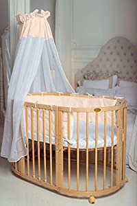 ComfortBaby © 4 in 1   Baby / Child / Junior Bed   Made of Natural Solid Beechwood  used as a crib, playpen, bed, including Sky, covers, blankets, mattresses, bumper and many more. ALL INCLUSIVE       Babyreview and more news