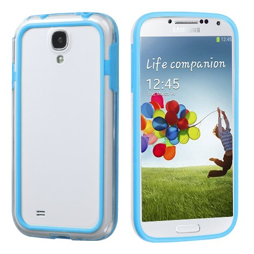 Hard Plastic Snap On Cover Fits Samsung I337 I9500 Galaxy S 4 Baby Blue/Transparent Clear Mybumper At&T (Please Carefully Check Your Device Model To Order The Correct Version.) front-1033037