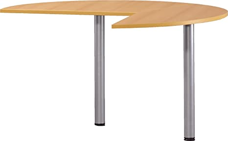 Techno Speed - RH Desk End Extension Table - 2 Round Legs - Beech Effect - Flat Packed
