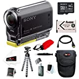 Sony HDR-AS20/B AS20 AS20/B POV Action Cam with Wi-Fi/ NFC and 1080/ 60p HD + Sony C10 32GB microSDHC + Wasabi NP-BX1 Battery + Focus Micro HDMI Cable + Focus Float Strap + Accessory Bundle