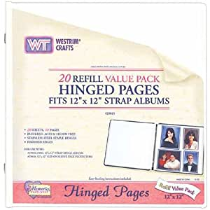 Westrim Value Pack Strap Hinge Refill Pages, 12-Inch-by-12-Inch, White, 20-Pack
