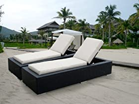 Popular ohana collection Genuine Ohana Outdoor Patio Wicker Furniture Piece Chaise Lounge Set Beige
