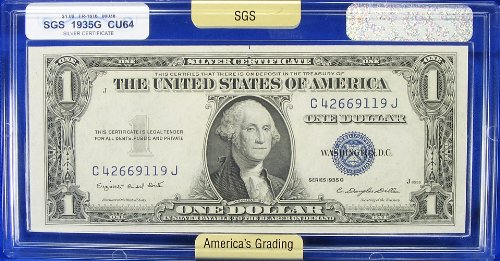 Series 1935-G $1.00 Silver Certificate FR-1616 SGS Graded CU64 (Choice Uncirculated 64)