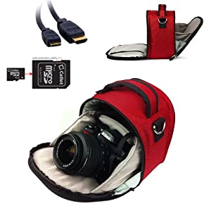 Vangoddy RED Laurel Luxury Camcorder, Mini Camcorder, SLR, DSLR Accessories Kit for all Brands ( Nikon, Canon, Sony, Pentax, JVC, Panasonic, Kodak, Flip Video, Fuji, ect..) + 4GB Micro SD Card with SD Adaptor + Black & Pink 6 inch Flexigrip Camera Tripod + Gold 6 ft HDMI to Mini HDMI Cable