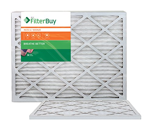 AFB Bronze MERV 6 22x24x1 Pleated AC Furnace Air Filter. Pack of 2 Filters. 100% produced in the USA.