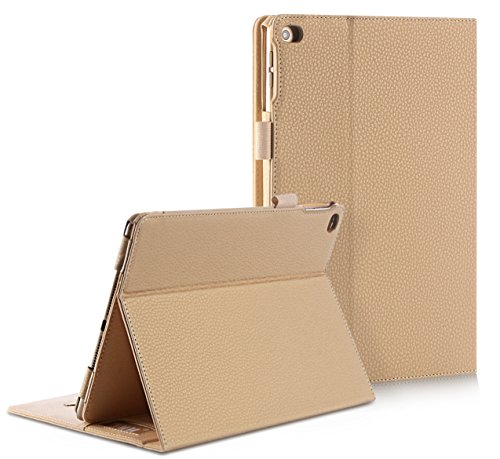 FYY Smart Auto Wake/Sleep Leather Cover with Velcro Hand Strap, Card Slots, Pocket for iPad Air 2 - Khaki (Ipad Air Cover Auto compare prices)