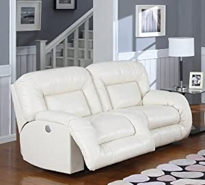 Bruno Bonded Leather Double Reclining Sofa in White