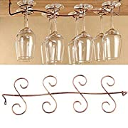 Buytra Under Cabinet Wine Glass Rack Stemware Holder for Home Bar, Holds up to 8 Glasses, Copper Color