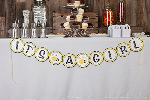 """Bee """"It'S A Girl"""" Baby Shower Banner (Yellow & Black)"""