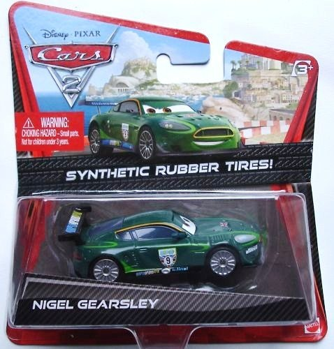 DISNEY PIXAR CARS 2 - NIGEL GEARSLEY with SYNTHETIC RUBBER TYRES. USA ONLY RELEASE