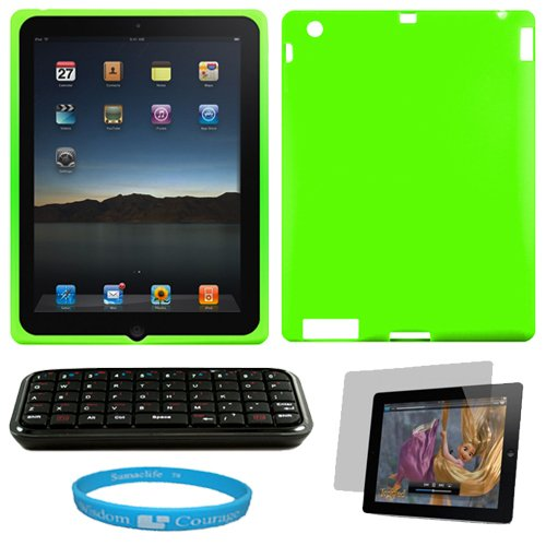 Lime Green Premium Rubberized Protective Soft Silicone Skin Cover Case for Verizon Wireless New Apple iPad 2 (16GB, 32GB 64GB) 2nd Generation and AT&T Apple iPad 2nd Generation iPad 2 + Clear Anti-Glare Clear Screen Protector for Apple iPad 2nd Generation + Naztech Bluetooth Mini i-Keyboard for Apple iPad 2 + SumacLife TM Wisdom Courage Wristband