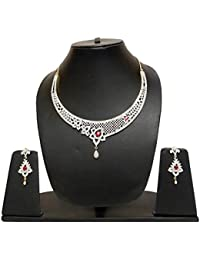 Navya Collection American Diamond Designer Necklace Set With Ruby Stone