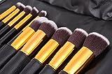 Beau Belle Kabuki Brush Set - Professional 10pcs Makeup Brushes - Black/Gold Kabuki Makeup Kit - Make Up Brushes - Foundation Brush, Blush Brush, Concealer Brush, Bronzer Brush, Kabuki Brush - Makeup Bag - Makeup Case